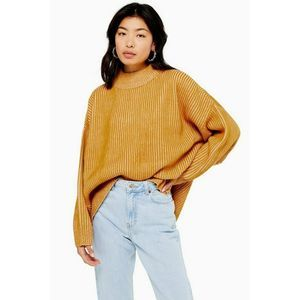 Topshop Sweater 8-10 Mustard Knit Ribbed Funnel